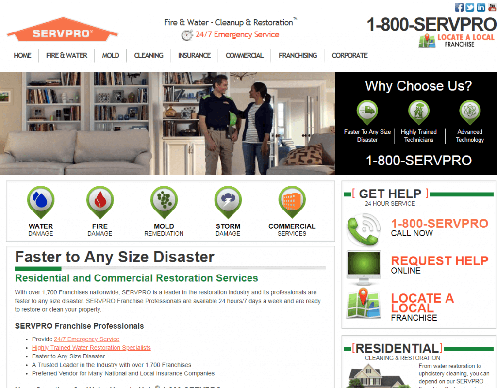 Servpro website design and seo company client by Best SEO San Diego